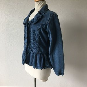 Scully princess cut acid wash peplum jacket L